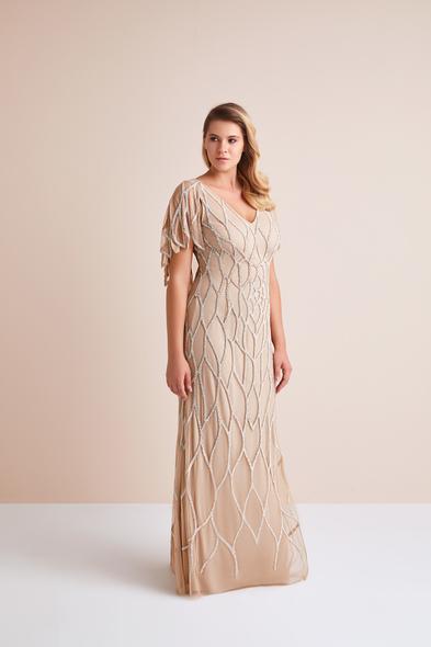 - Kısa Kollu Payet İşlemeli Altın Rengi Uzun Büyük Beden Abiye Elbise - Oleg Cassini