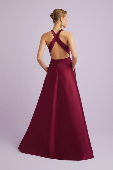 - Şarap Rengi Halter Yaka Saten Abiye Elbise - Oleg Cassini