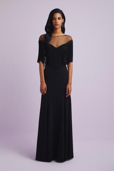 Siyah İllüzyon Yaka Püsküllü Krep Abiye Elbise - Oleg Cassini