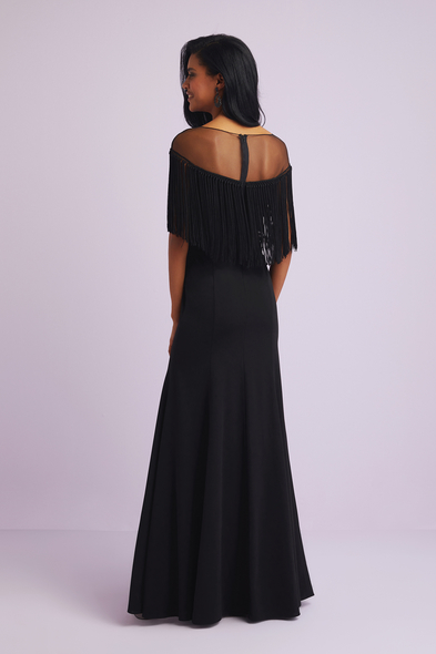 - Siyah İllüzyon Yaka Püsküllü Krep Abiye Elbise - Oleg Cassini