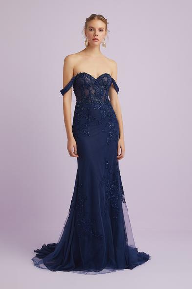 Viola Chan - Lacivert Askılı Payet İşlemeli Abiye Elbise