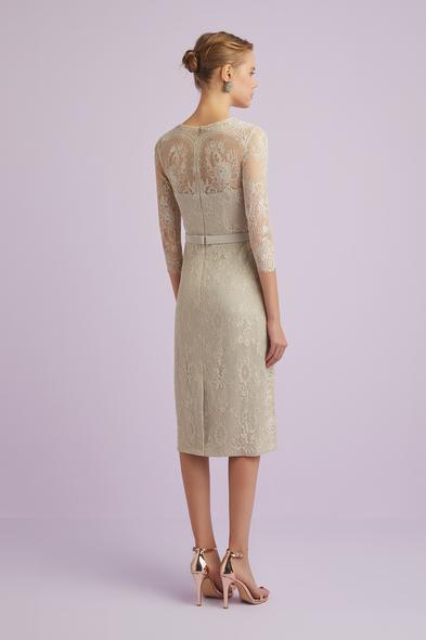 - Şampanya Rengi Uzun Kollu Dantelli Midi Boy Abiye Elbise - Oleg Cassini