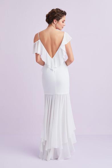 - Beyaz Askılı Önü Kısa Arkası Uzun Şifon Büyük Beden Nikah Elbisesi - Oleg Cassini