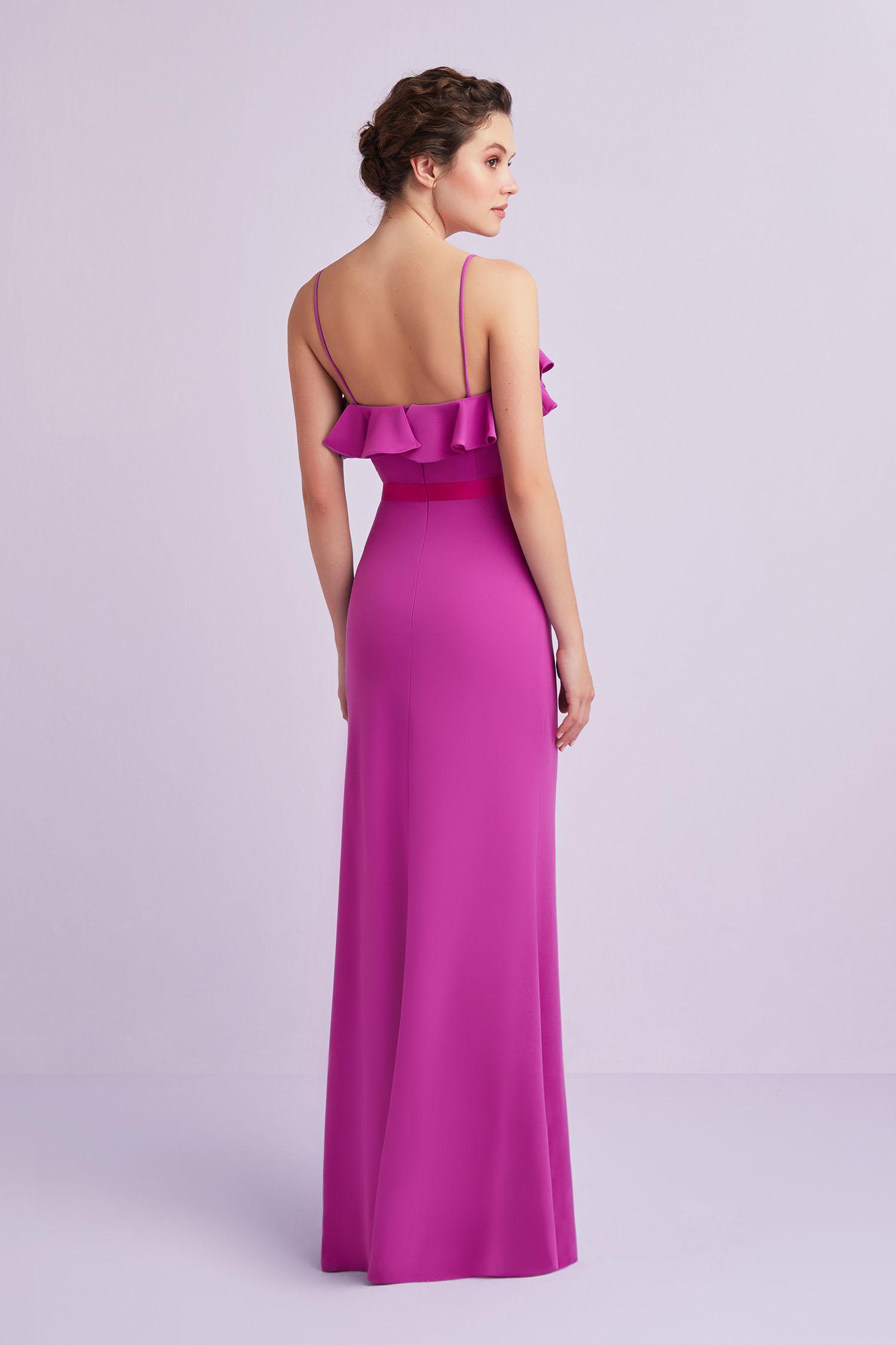 Erguvan Rengi Askılı Fırfırlı Krep Uzun Elbise - Thumbnail