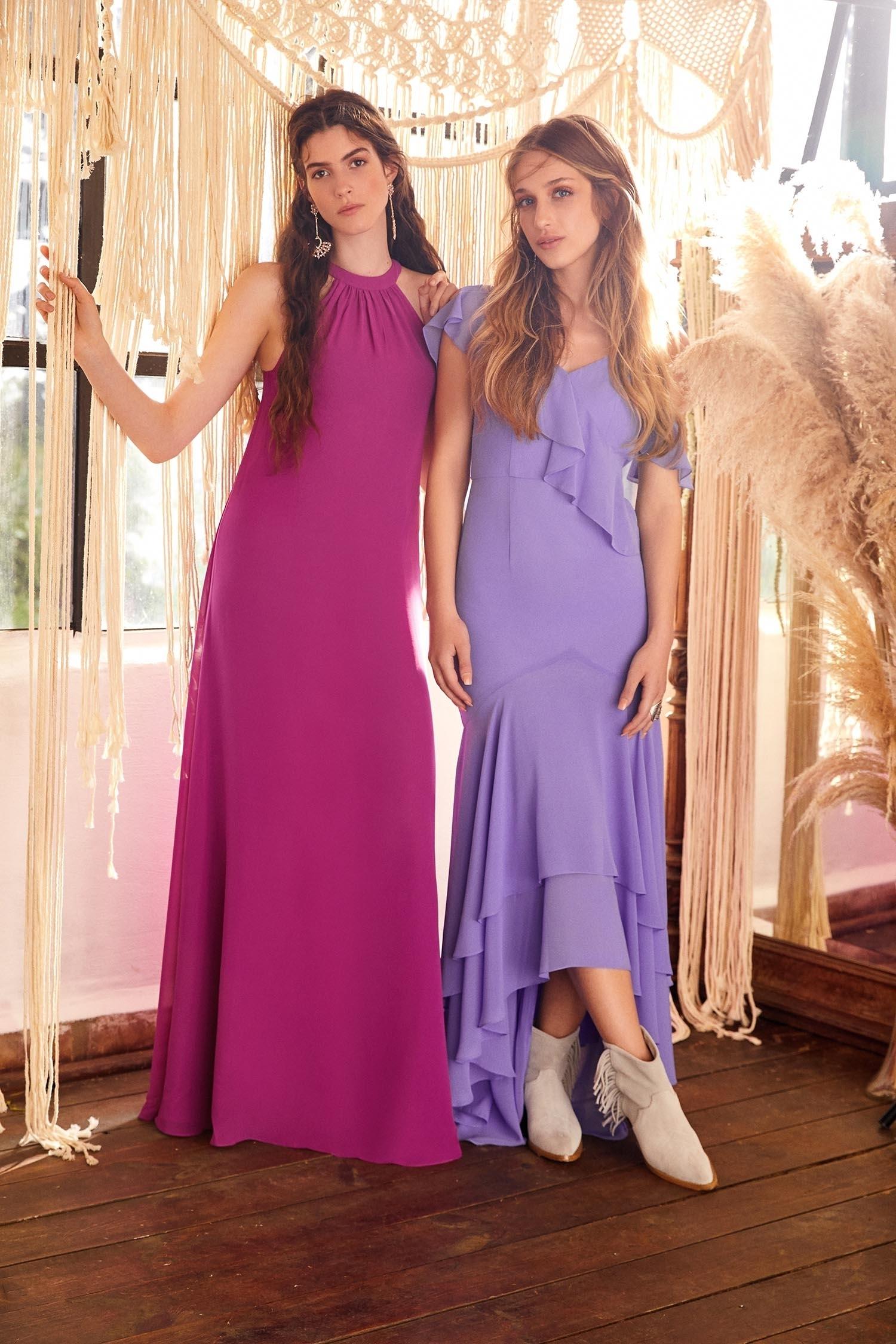 Erguvan Rengi Halter Yaka Şifon Elbise - Thumbnail