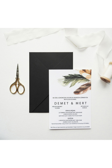 Save the Date - Feather in Love Davetiye