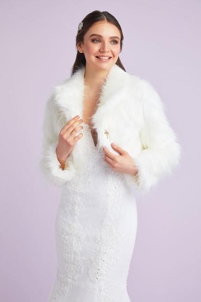 OLEG CASSINI TR - Kırık Beyaz Uzun Kollu Abiye Bolero Ceket - Gelinlik İçin (1)