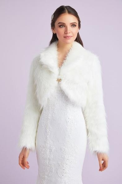 OLEG CASSINI TR - Kırık Beyaz Uzun Kollu Abiye Bolero Ceket - Gelinlik İçin