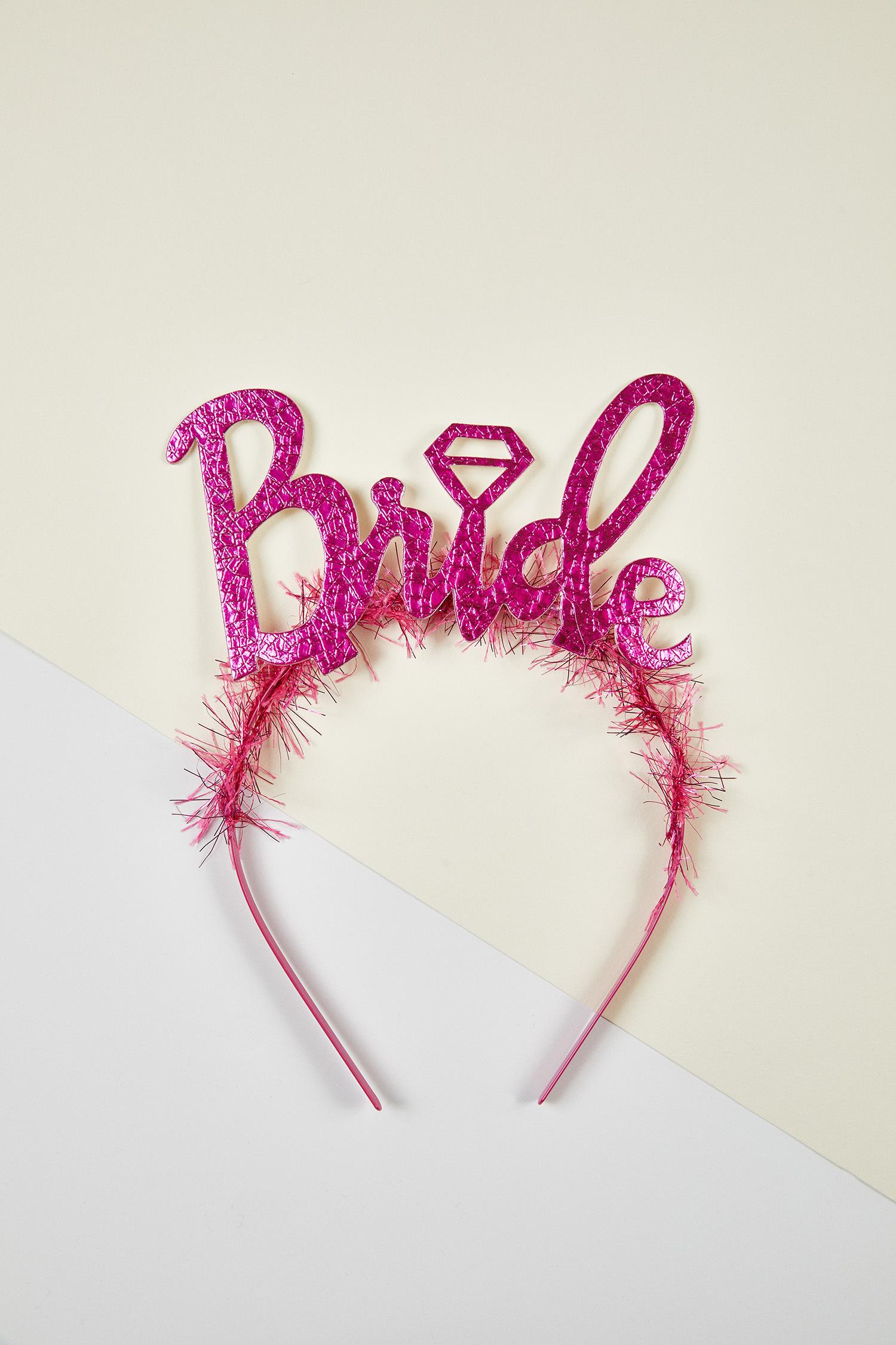 Fuşya Bride Yazılı Bekarlığa Veda Tacı