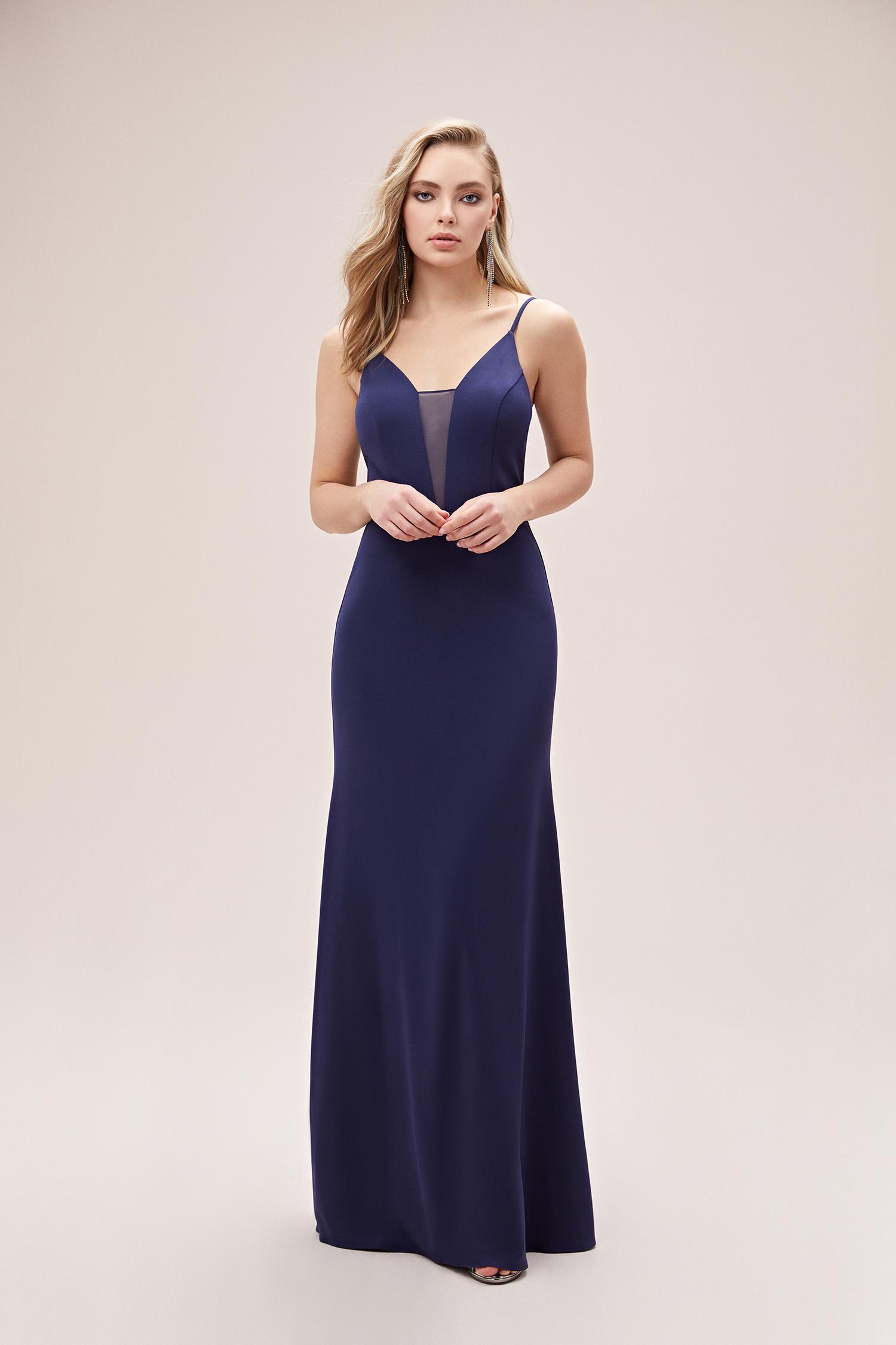 Gece Mavisi İp Askılı Dar Uzun Abiye Elbise - Thumbnail