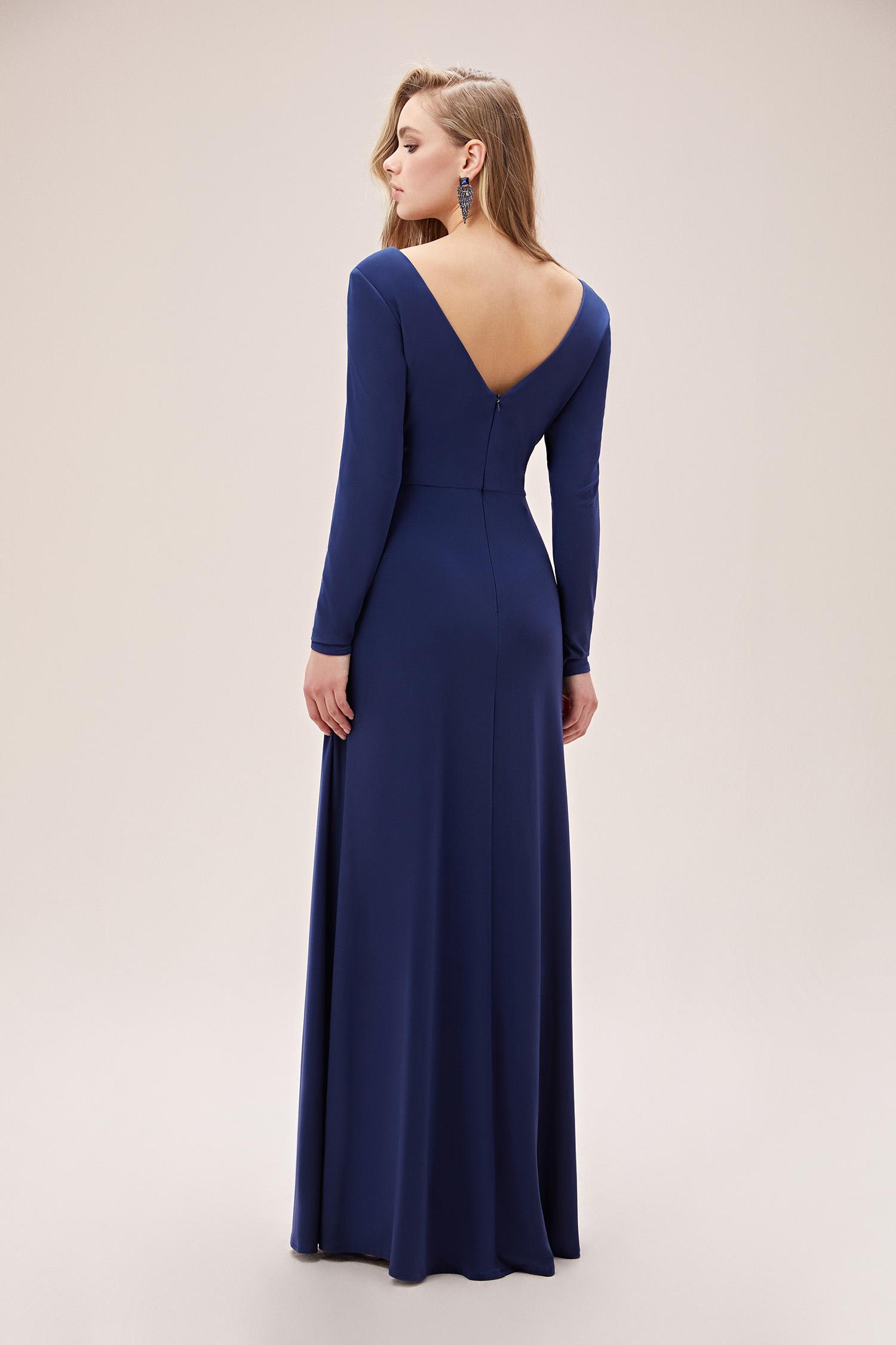 Gece Mavisi Uzun Kollu V Yaka Uzun Jarse Abiye Elbise - Thumbnail
