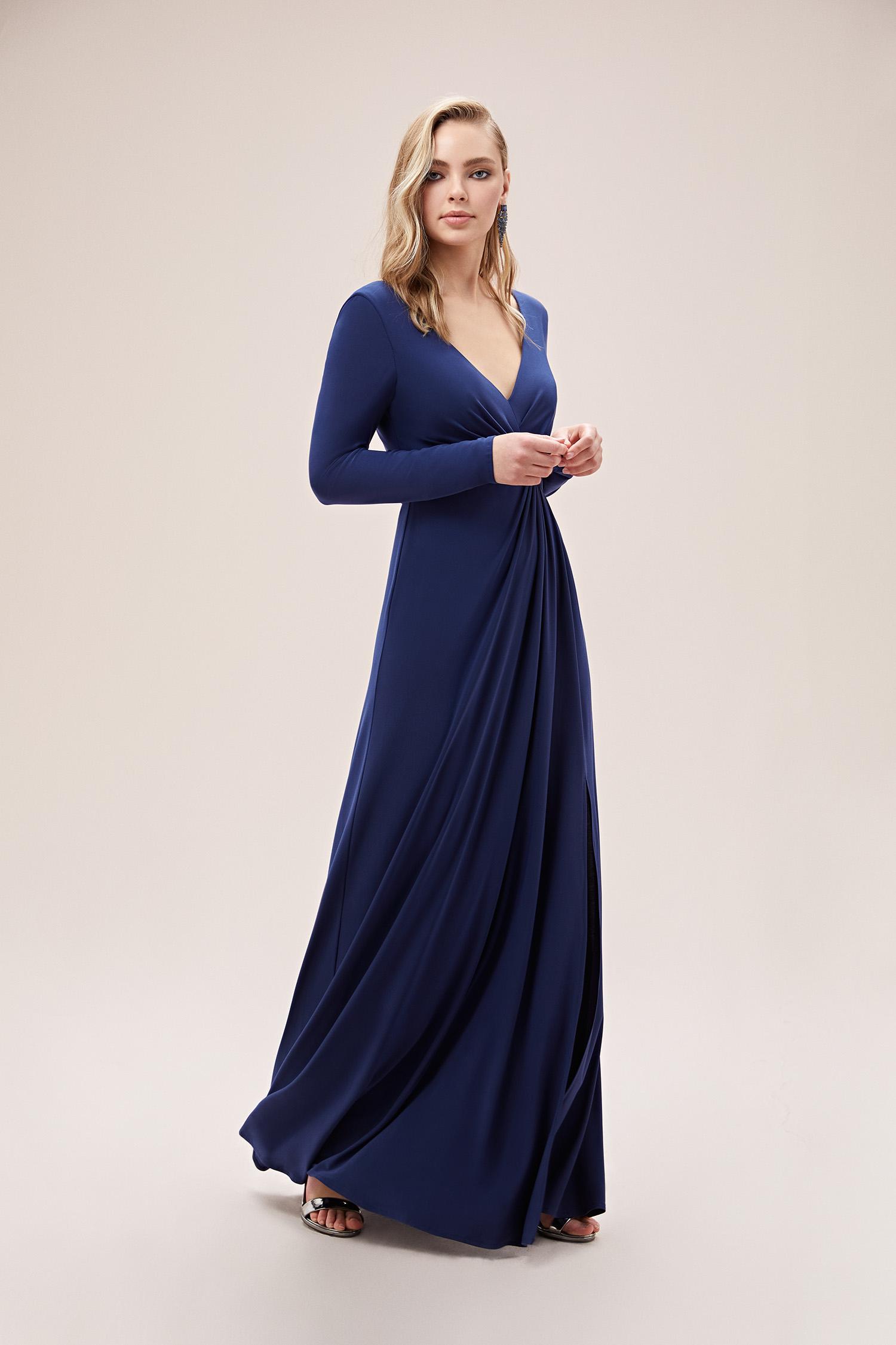 Gece Mavisi Uzun Kollu V Yaka Uzun Jarse Elbise - Thumbnail