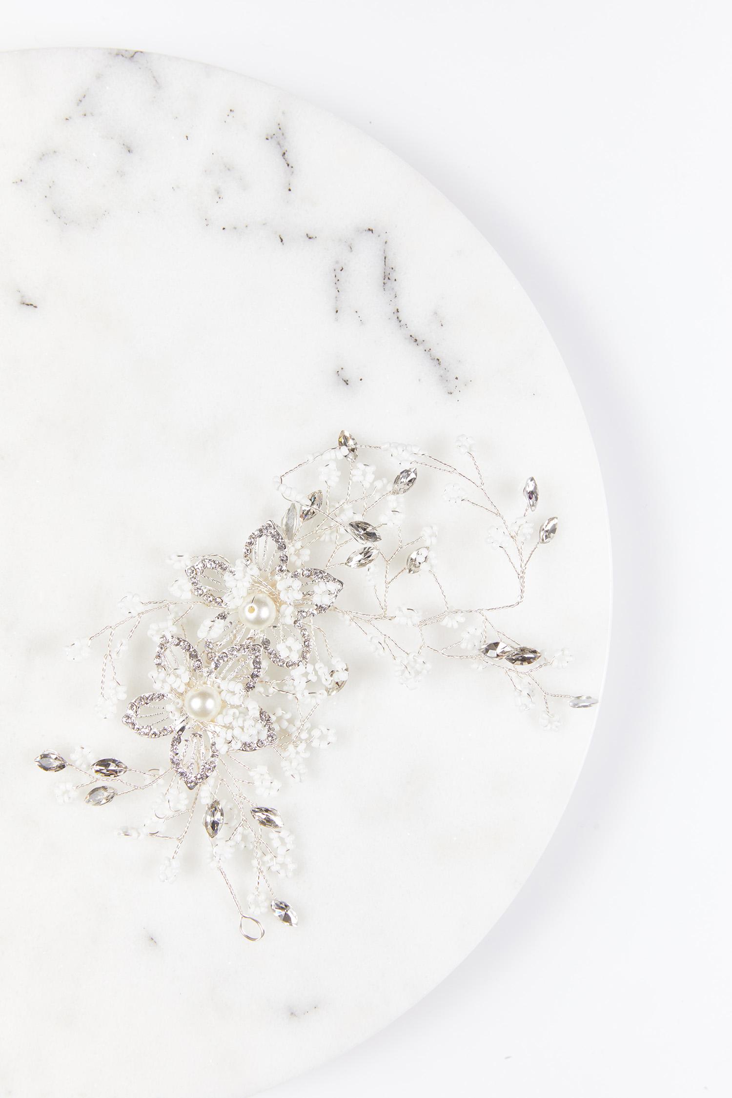Gelinlik Tacı Boncuklu İncili Çiçek Desenli - Thumbnail