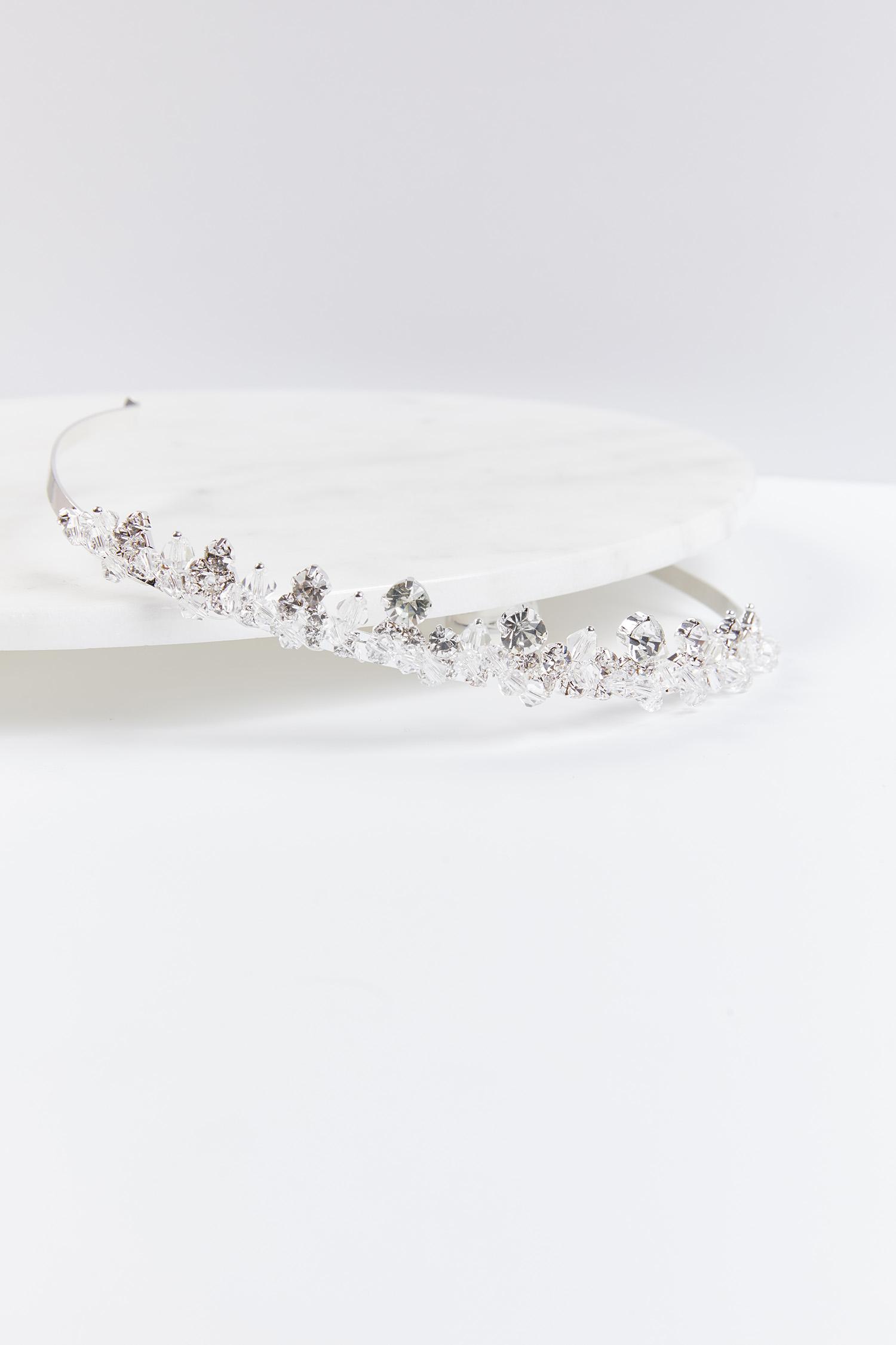 Gelinlik Tacı Gümüş Rengi Büyük Kristal Taşlı - Thumbnail