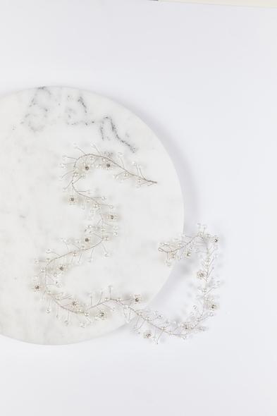 OLEG CASSINI TR - Gümüş Rengi İncili Boncuklu Gelinlik Tacı (1)