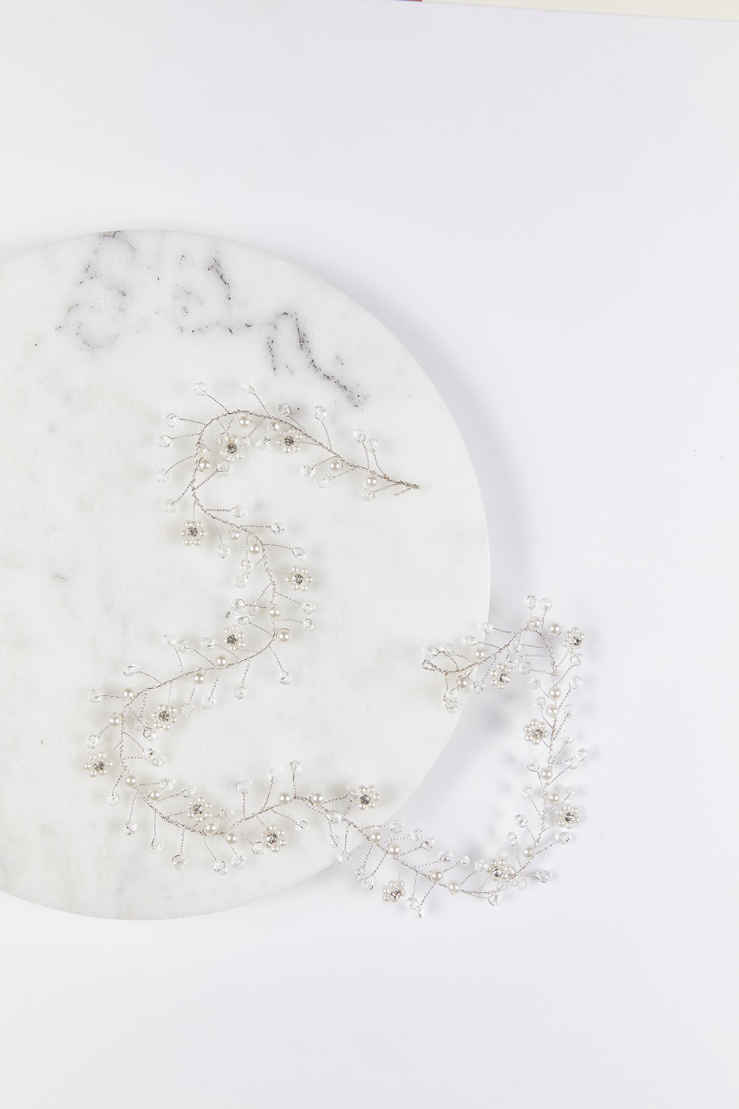 Gelinlik Tacı Gümüş Rengi İncili Boncuklu - Thumbnail