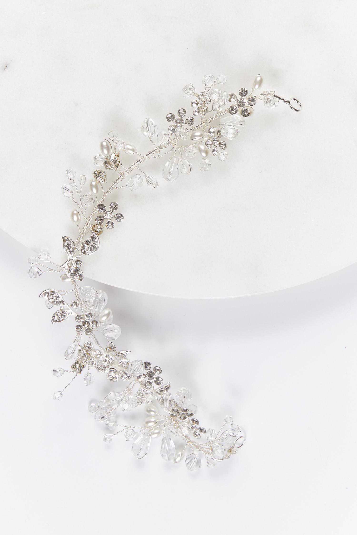 Gelinlik Tacı Gümüş Rengi Taşlı ve İncili - Thumbnail