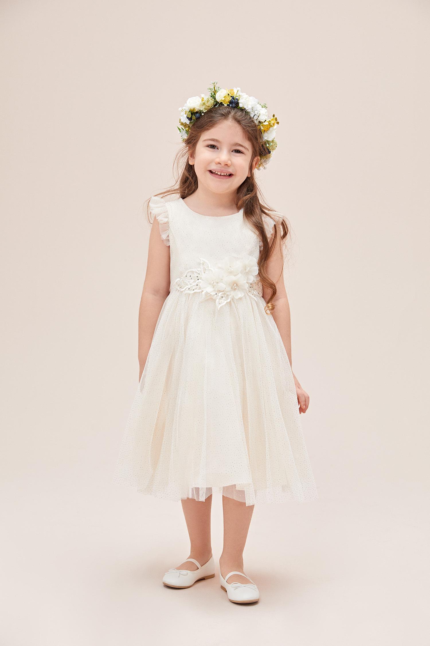 Gold Askılı Çiçek Detaylı Çocuk Elbisesi - Thumbnail