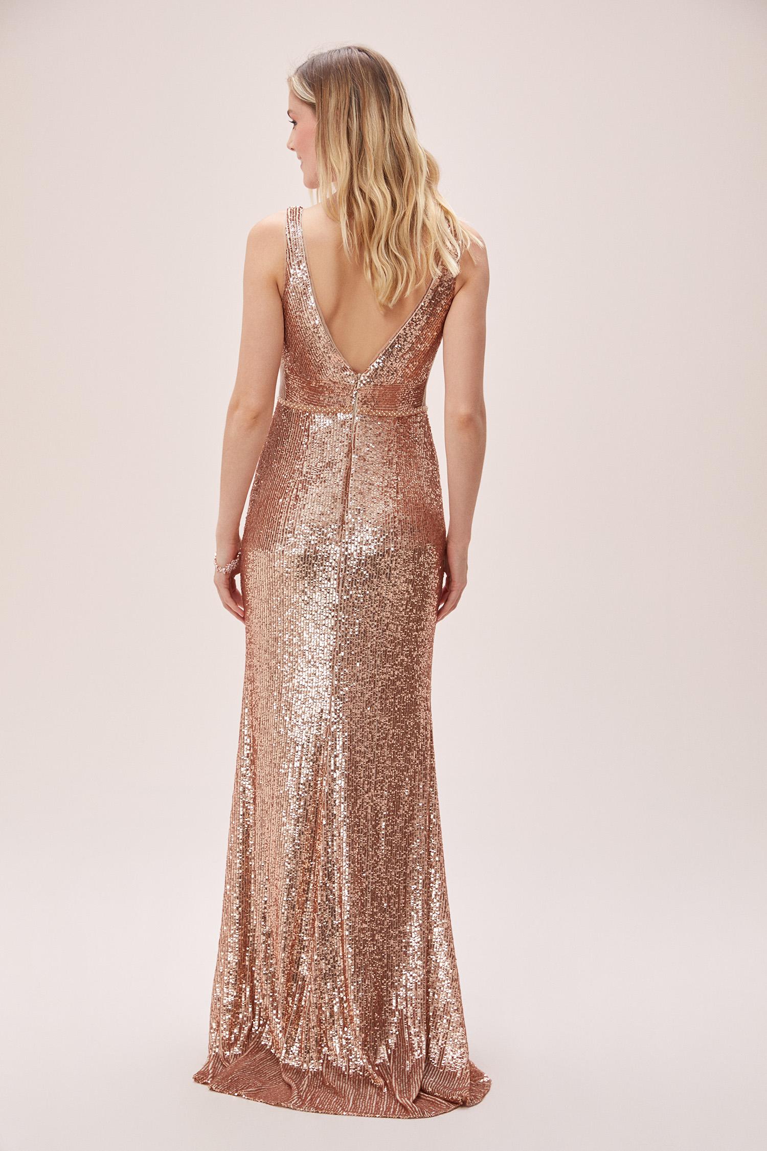 Gold Payet İşlemeli Derin V Yaka Askılı Uzun Abiye Elbise - Thumbnail