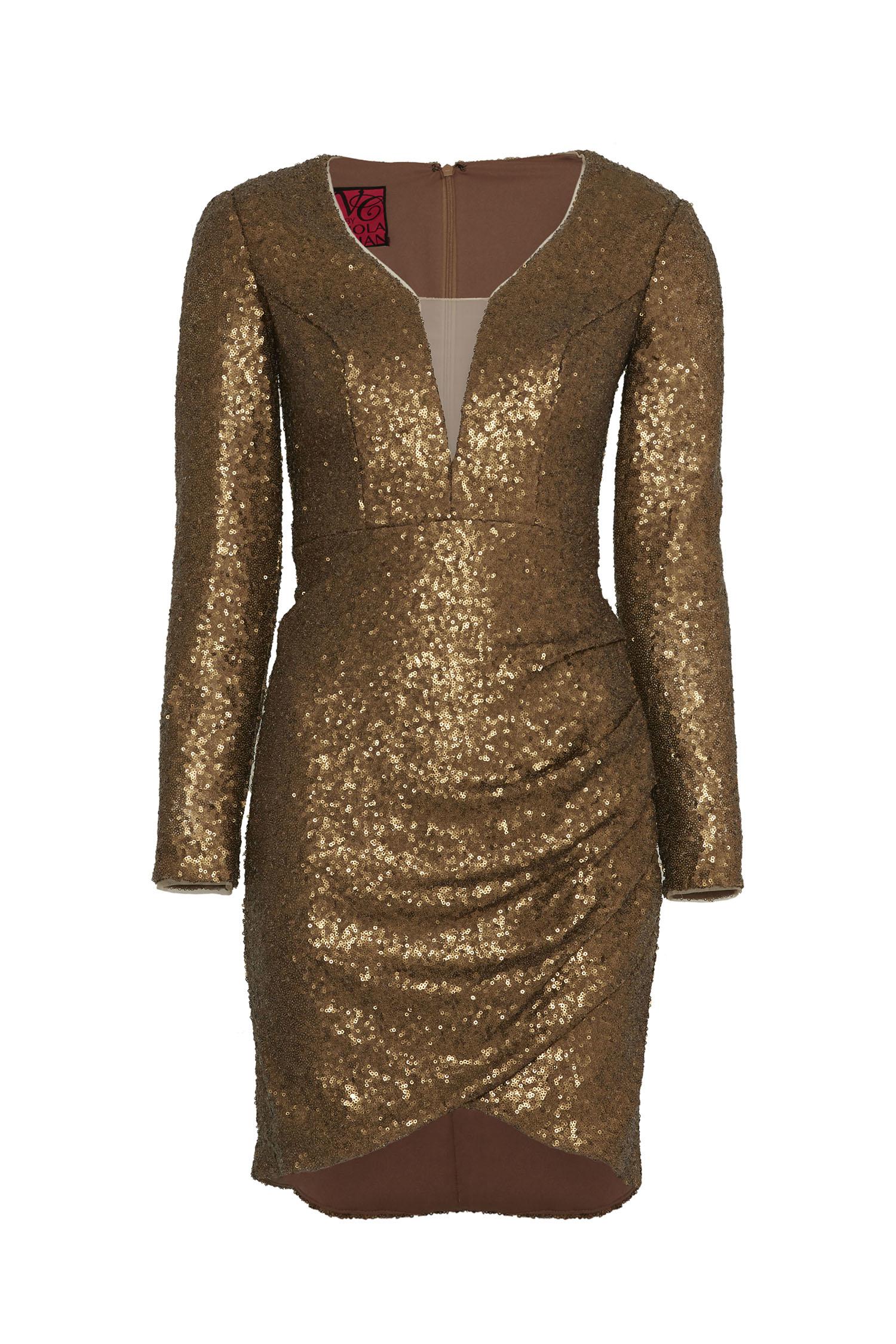 Gold Rengi İllüzyon V Yaka Uzun Kollu Payetli Dar Mini Abiye - Thumbnail