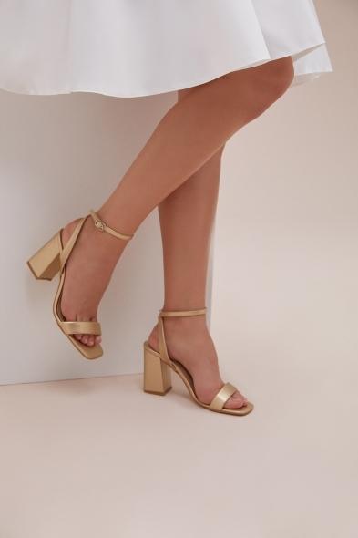 OLEG CASSINI TR - Gold Rengi İnce Bantlı Kalın Topuklu Abiye Ayakkabısı
