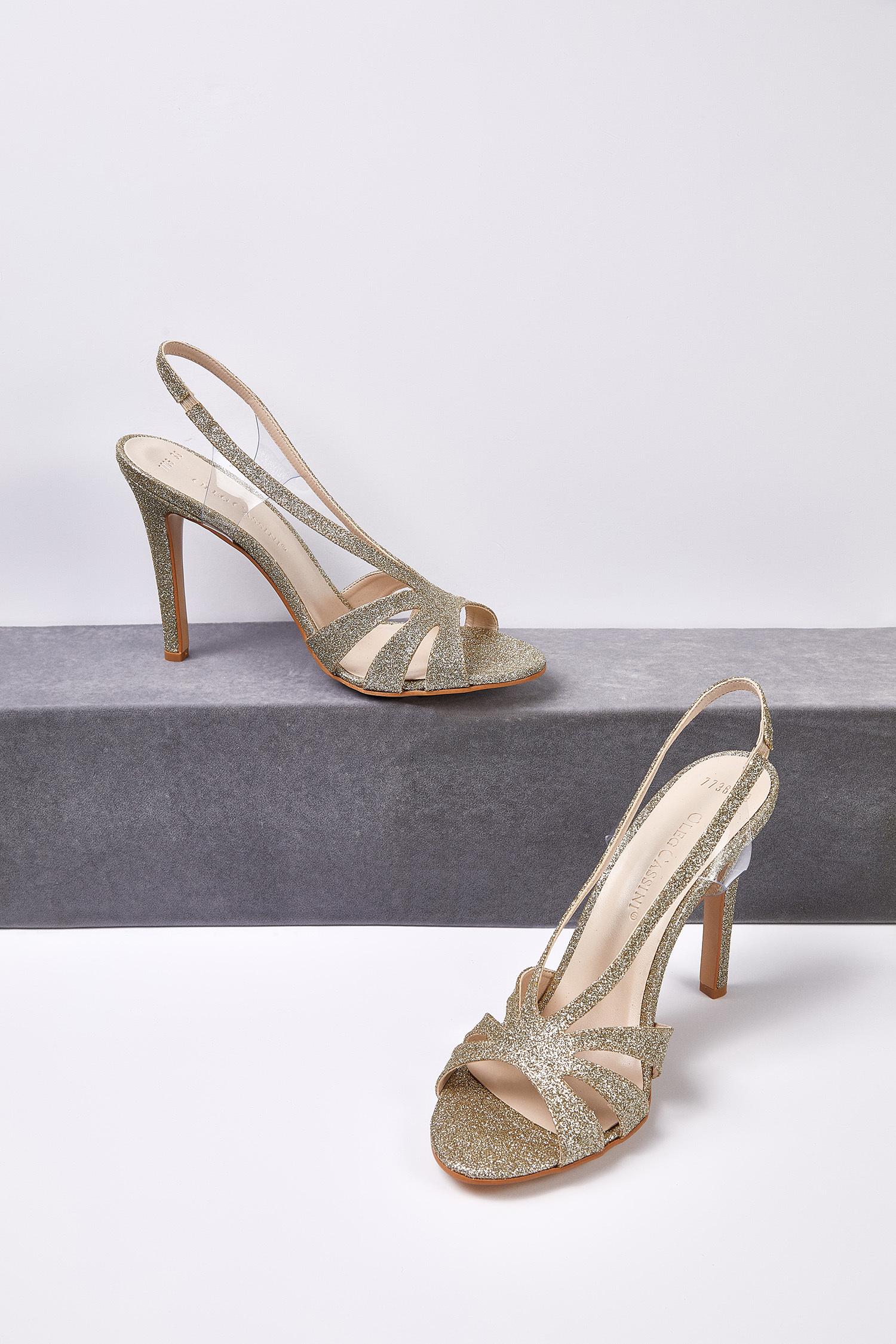 Gold Rengi Taşlı Topuklu Abiye Ayakkabısı