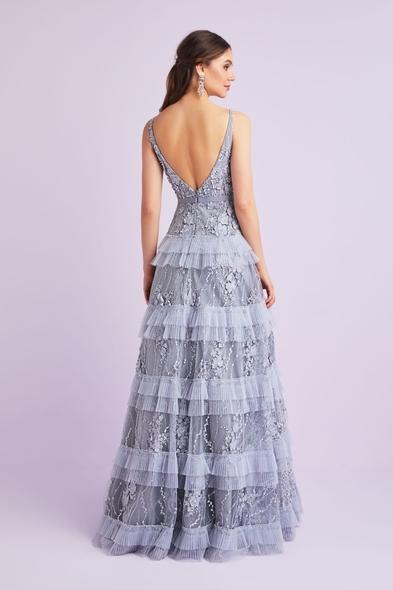 VCP - Gri Askılı Çiçek Aplikeli Uzun Abiye Elbise (1)