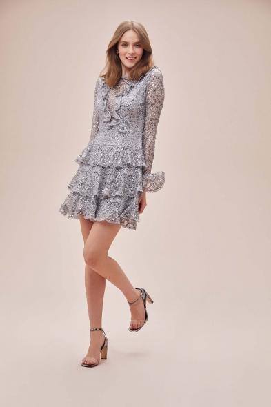 Alfa Beta - Gri Dantel İşlemeli Uzun Kollu Fırfırlı Mini Elbise