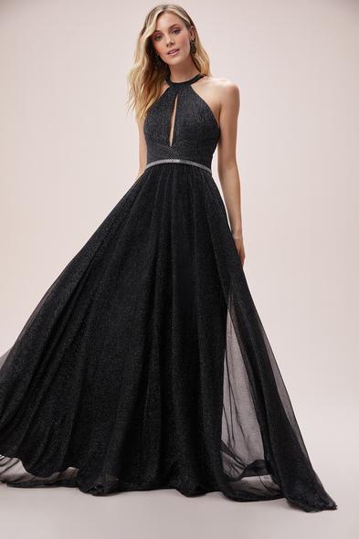Viola Chan - Gri Halter Yaka Parlak Jarse Uzun Abiye Elbise (1)