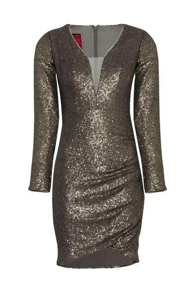 VC by Viola Chan - Gümüş İllüzyon Yaka Uzun Kollu Payetli Mini Elbise