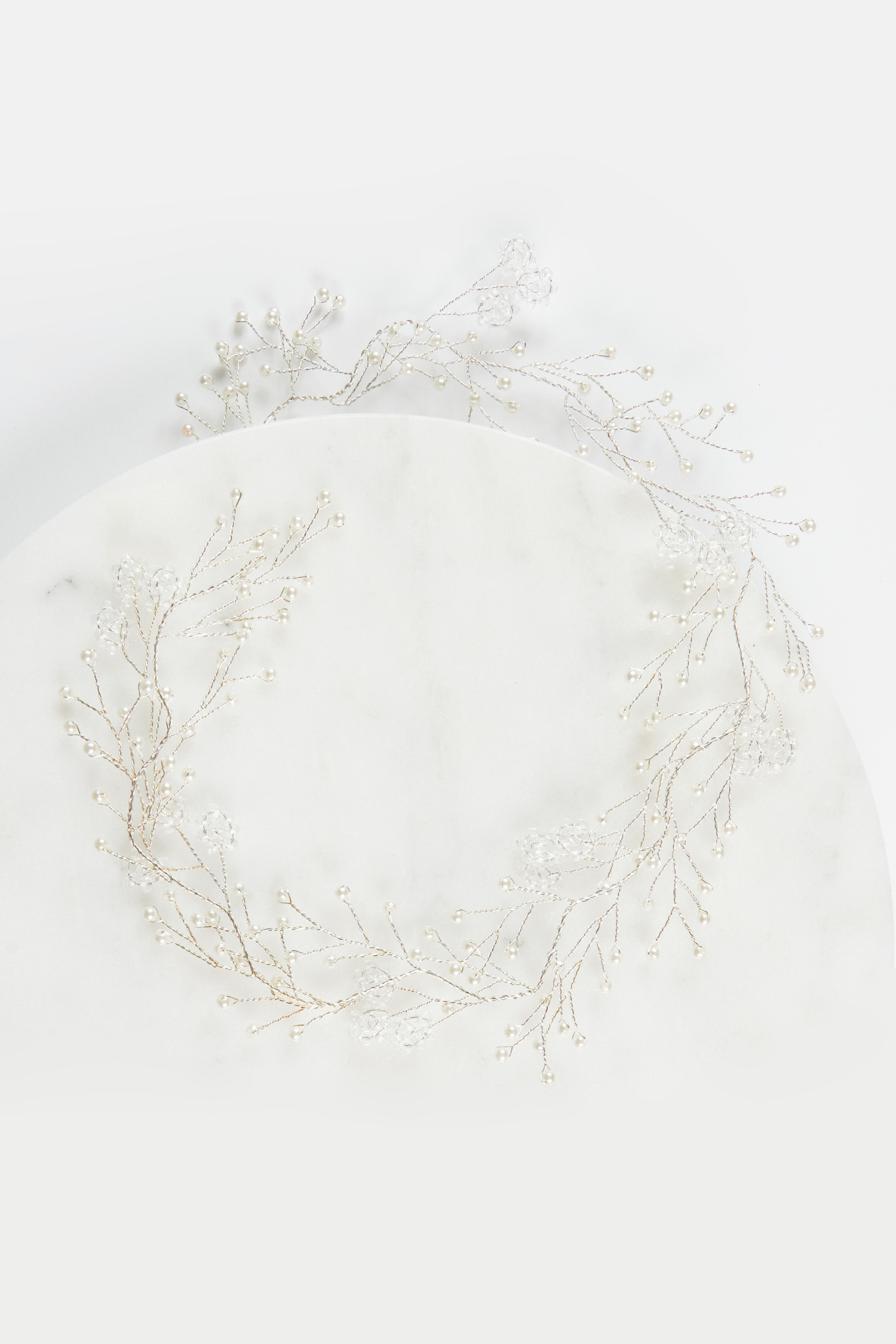 Gümüş İncili Çiçek Detaylı Gelin Tacı