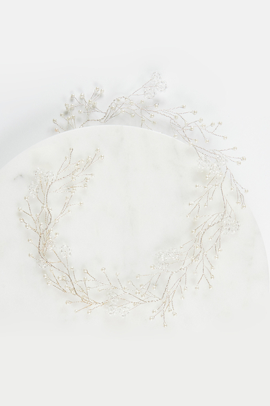 OLEG CASSINI TR - Gümüş İncili Çiçek Detaylı Gelin Tacı