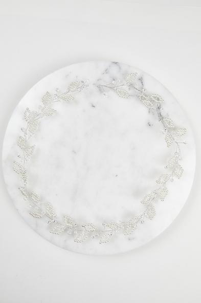 OLEG CASSINI TR - Gümüş Rengi Boncuklu Gelin Tacı (1)