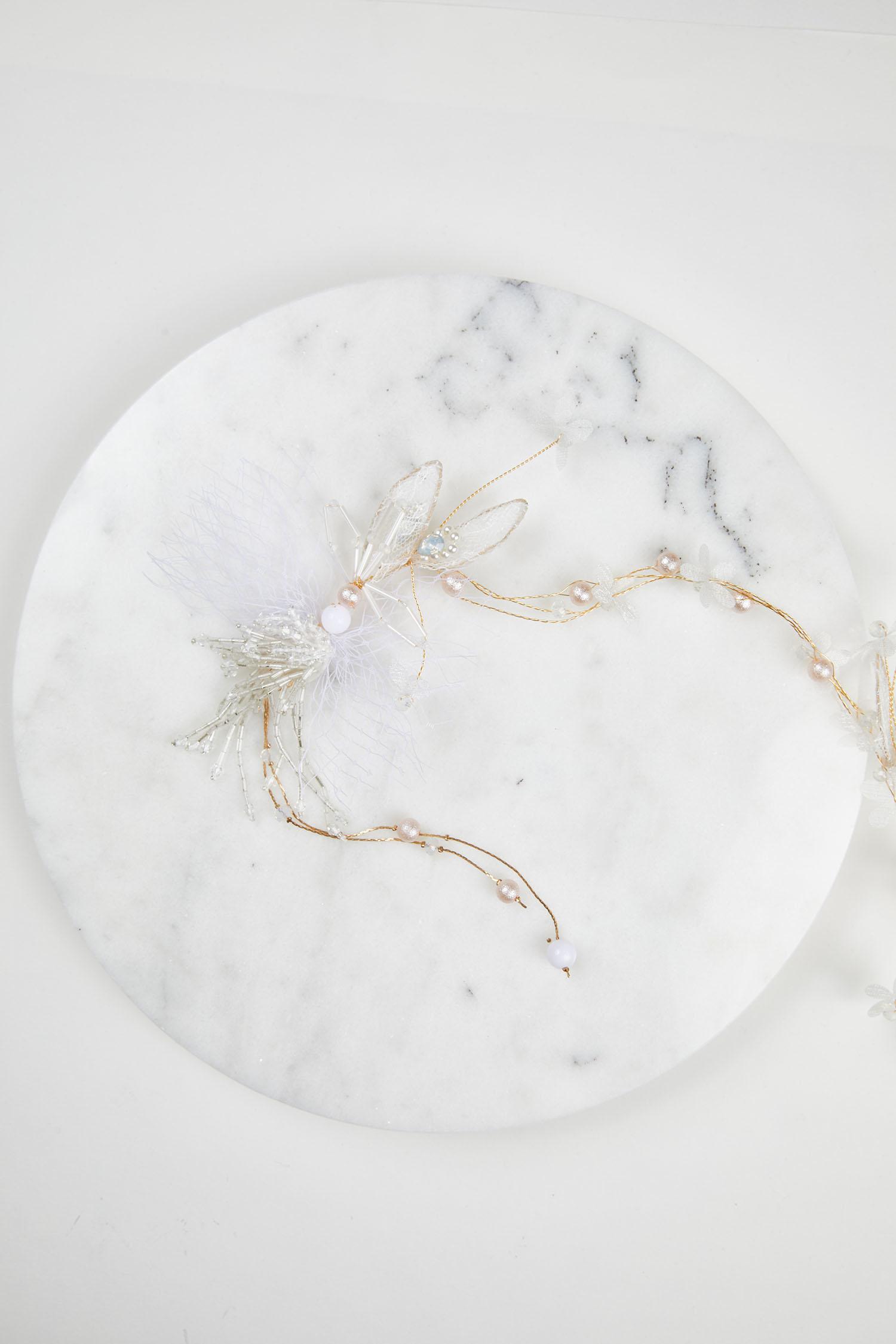 Gümüş Rengi Çiçekli Gelin Saç Aksesuarı - Thumbnail