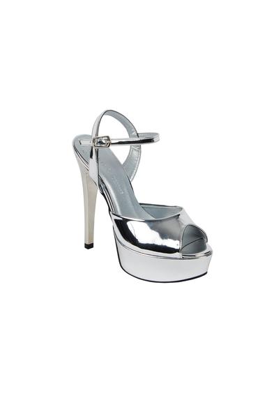 OLEG CASSINI TR - Gümüş Rengi Dolgu Topuk Abiye Ayakkabı