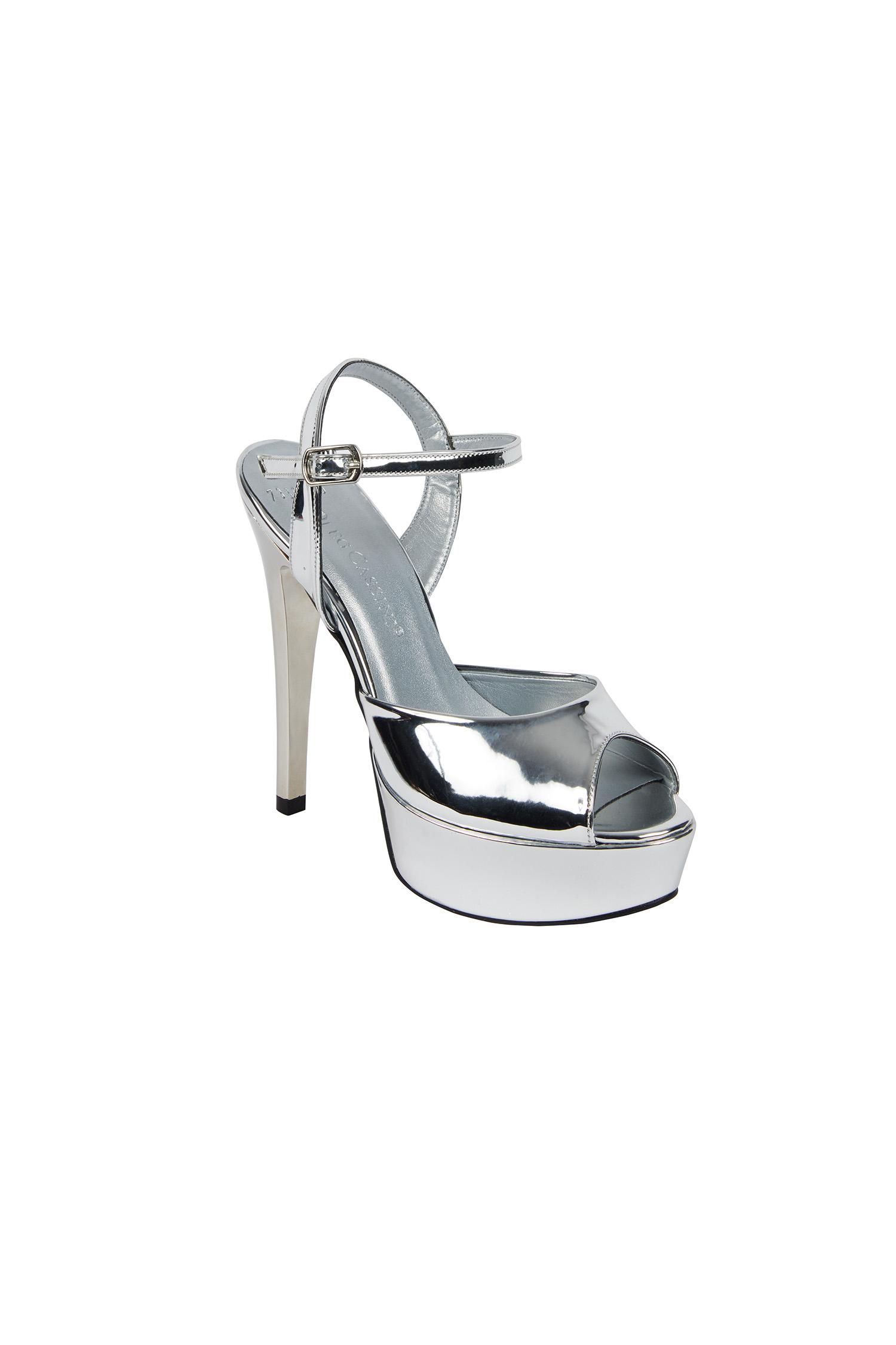 Gümüş Rengi Dolgu Topuk Abiye Ayakkabı