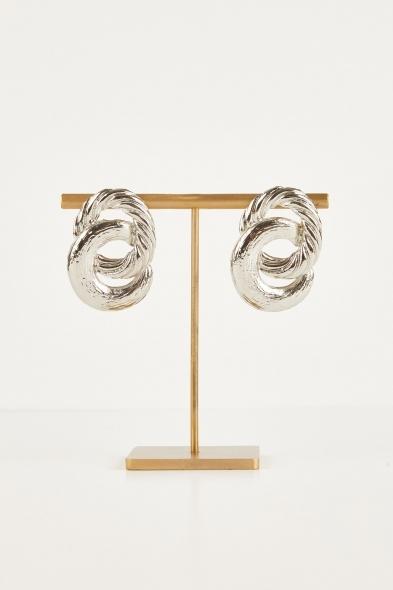 Oleg Cassini - Gümüş Rengi İki Halkalı Küpe