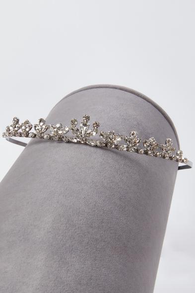 Oleg Cassini - Gümüş Rengi Kristalli Prenses Model Gelin Tacı