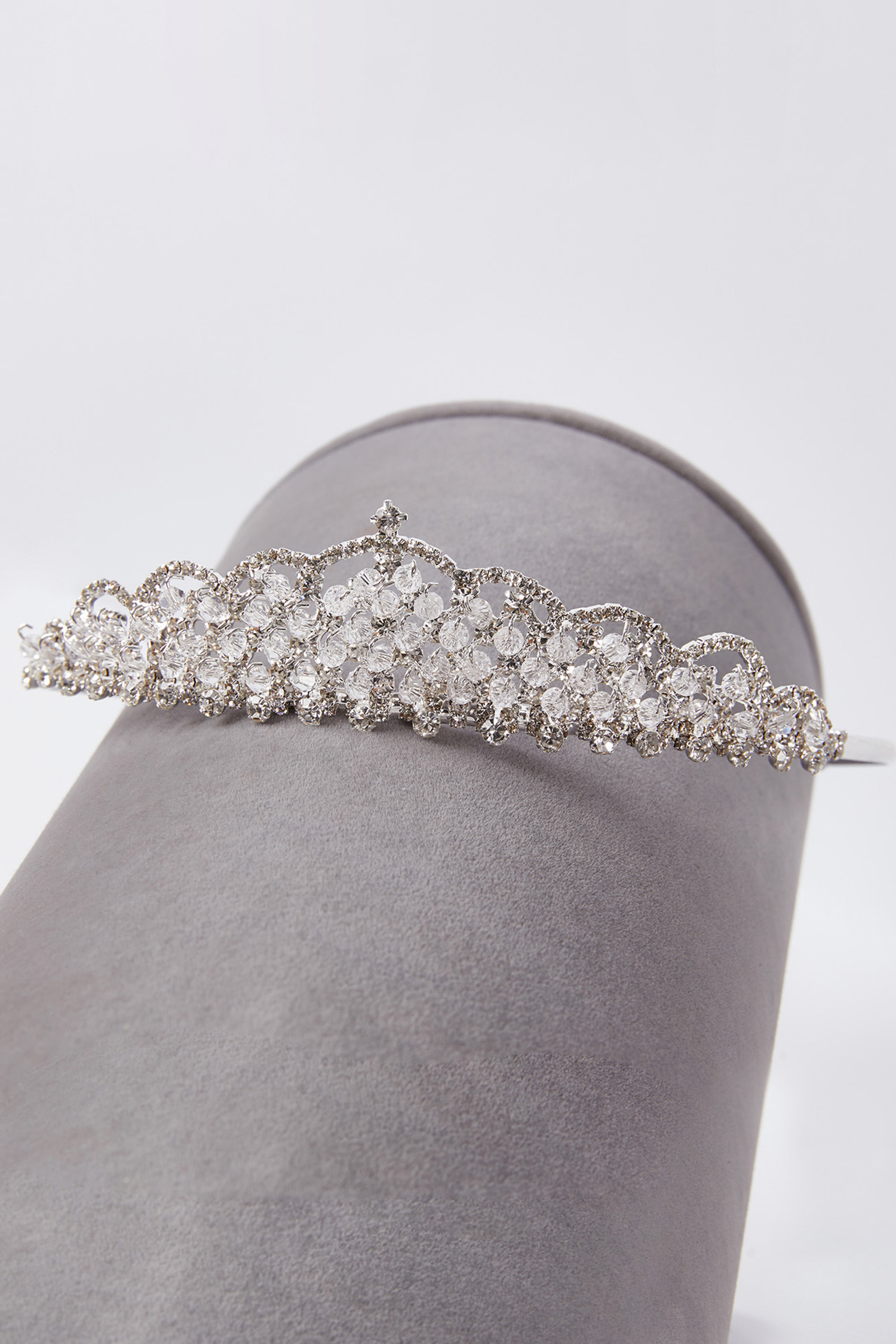 Gümüş Rengi Prenses Model Parlak Gelin Tacı - Thumbnail