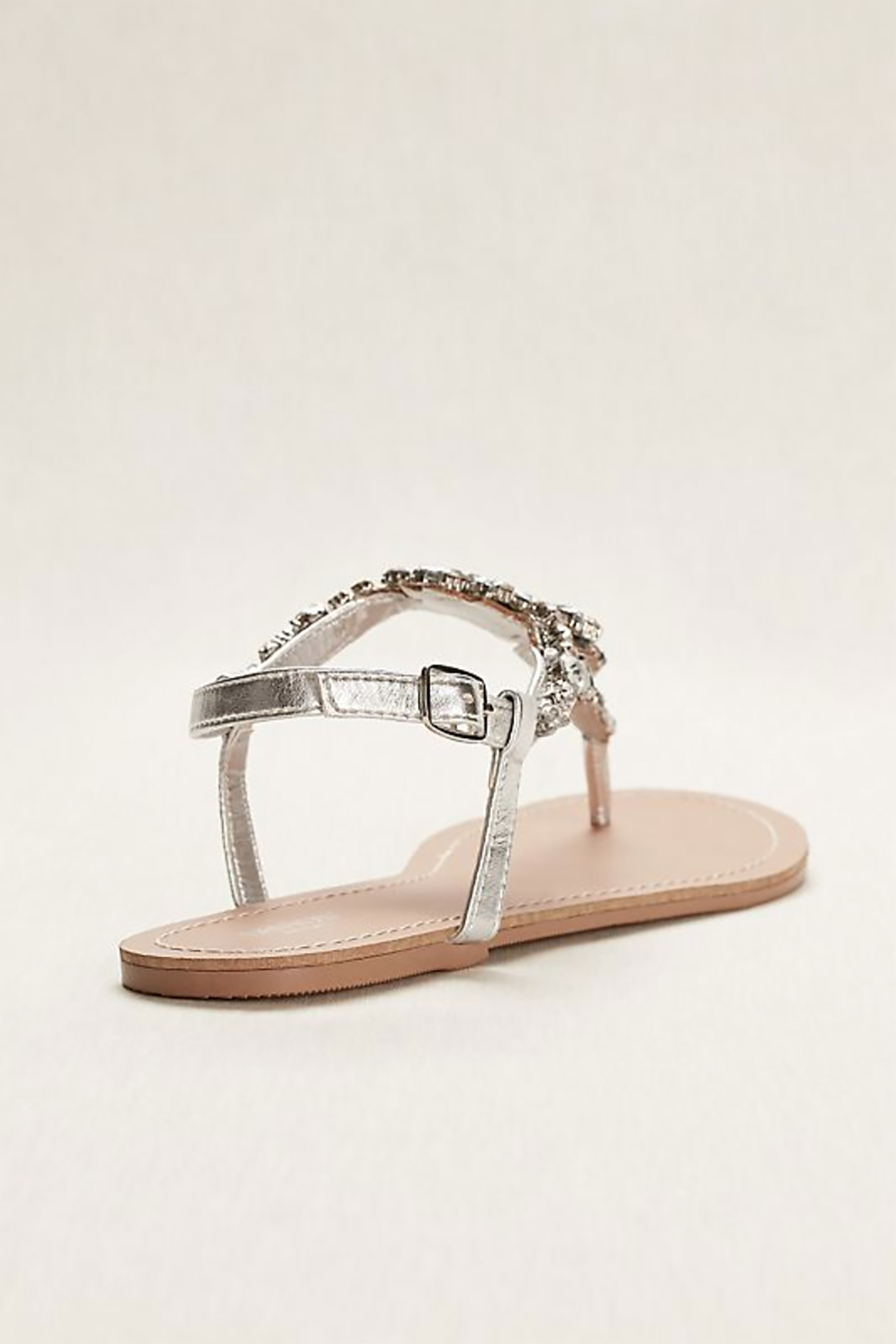 Gümüş Rengi Taşlı Parmak Arası Sandalet - Thumbnail