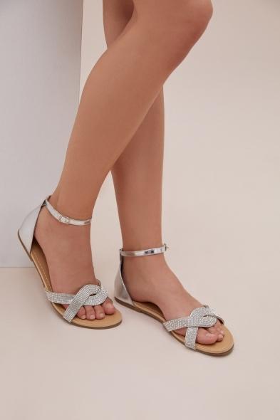 Oleg Cassini - Gümüş Rengi Taşlı Sandalet