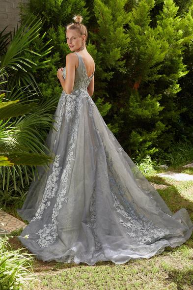 Viola Chan Premium - Gümüş Rengi V Yaka Dantel İşlemeli Uzun Büyük Beden Abiye Elbise (1)