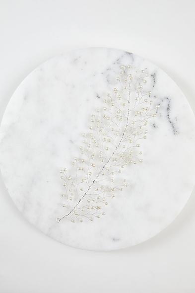 Gümüş Rengi Yaprak Motifli Gelin Tacı - Oleg Cassini