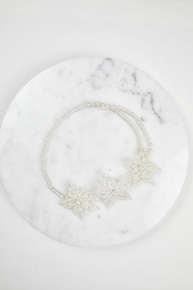 OLEG CASSINI TR - Çiçek Motifli İnci Gelin Alınlığı