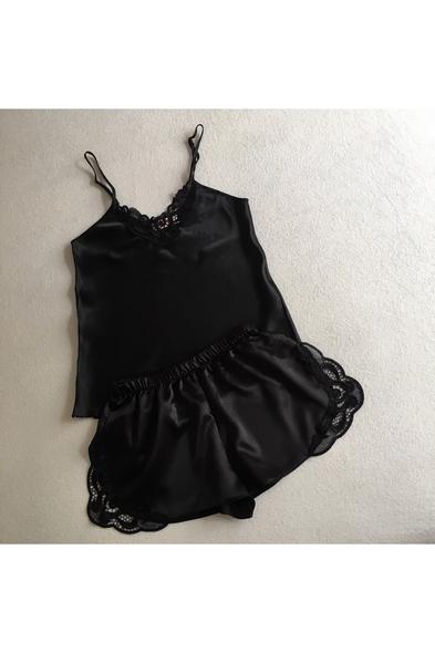 bysaevents - Güpür Detaylı Siyah Saten Gelin İç Giyim Takım