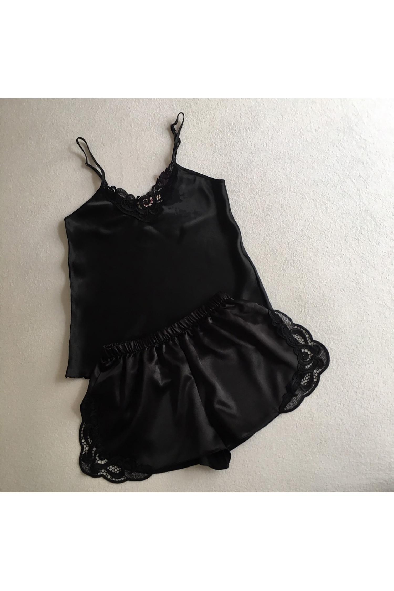 Güpür Detaylı Siyah Saten Gelin İç Giyim Takım