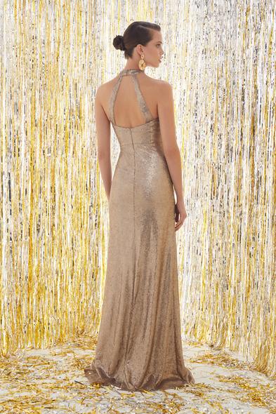 VC by Viola Chan - Halter Yaka Altın Rengi Abiye Elbise (1)