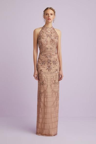 Viola Chan - Yüzücü Yaka Pembe Altın Rengi Payetli Abiye Elbise