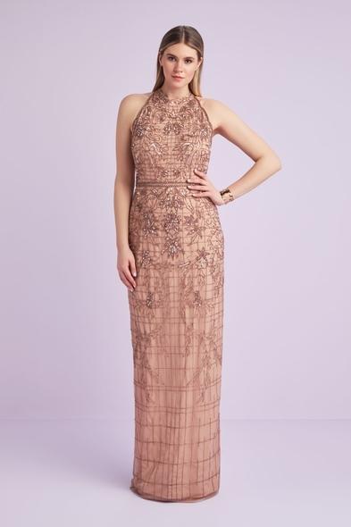 Viola Chan - Halter Yaka Rose Pul İşlemeli Ten Rengi Payetli Büyük Beden Abiye Elbise