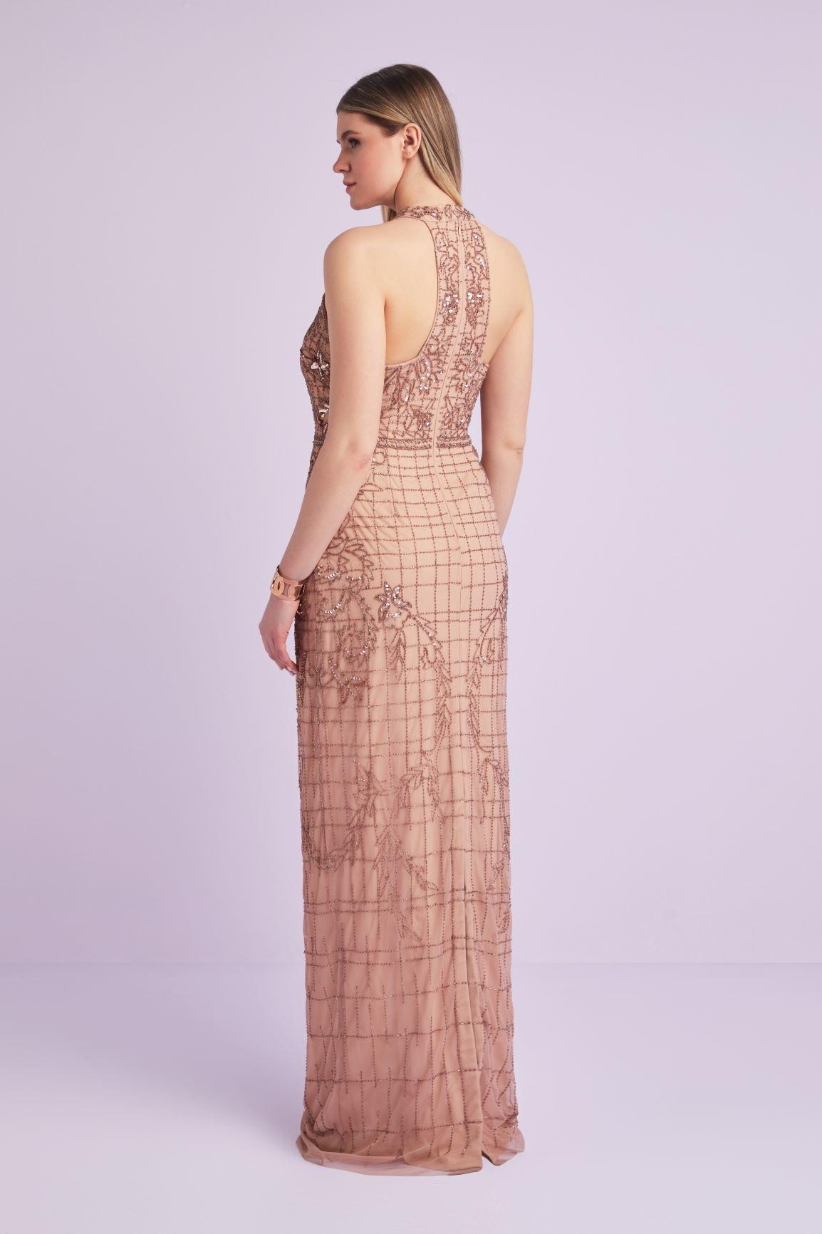 Halter Yaka Rose Pul İşlemeli Ten Rengi Payetli Büyük Beden Abiye Elbise - Thumbnail
